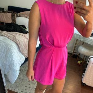 Pink top shop romper lace in the back